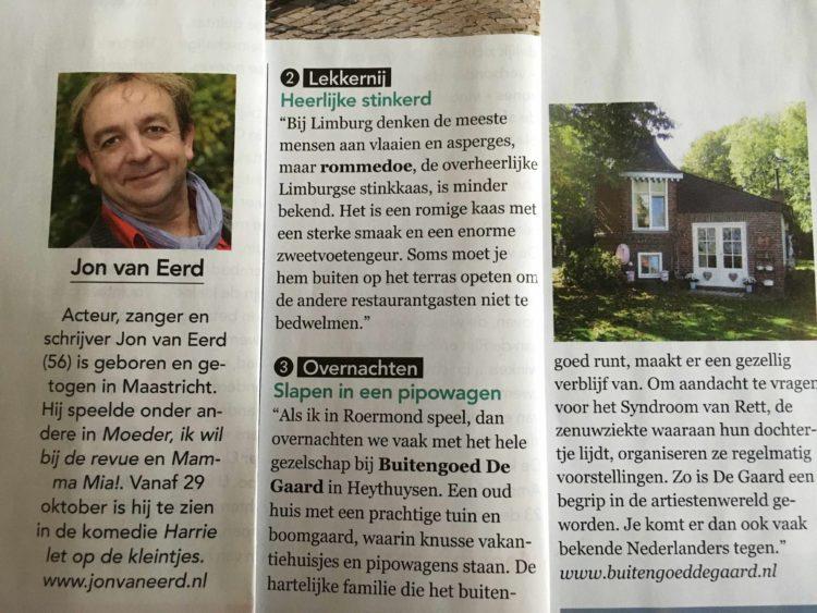 jon van eerd verteld in Plus magazine over zijn verblijf in Pipowagen deluxe en Vakantiehuisje Midden-Limburg