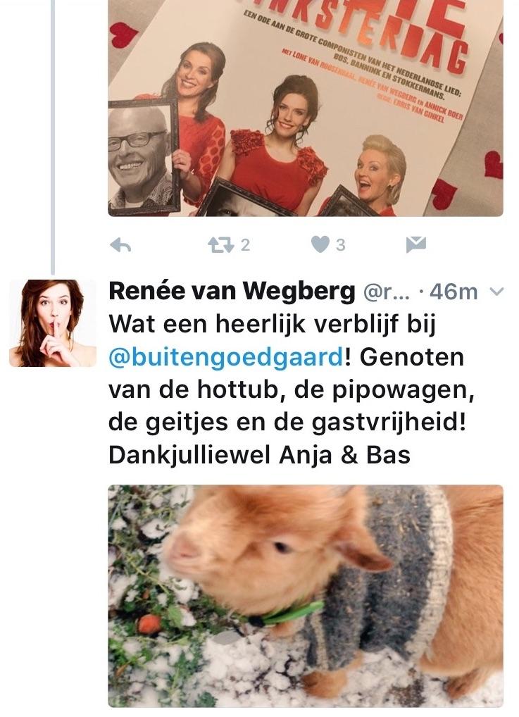 compliment van Renee van wegberg over verblijf bij buitengoed de gaard pipowagendeluxe